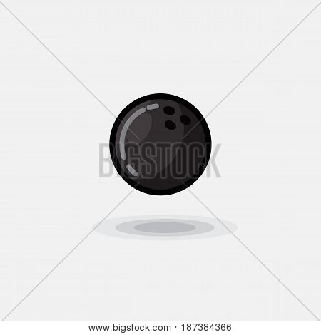 Vector icon ball game black bowling isolated on white background. Illustration of a bowling, black bowl for bowling game on a white background