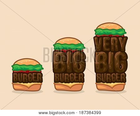 Vector icon set burgers small, big and very big. Illustration three burgers, small, big and very big. Traditional burger