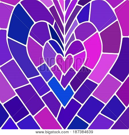 abstract vector stained-glass mosaic background - purple and violet heart