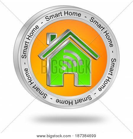 orange green Smart Home Button - 3D illustration
