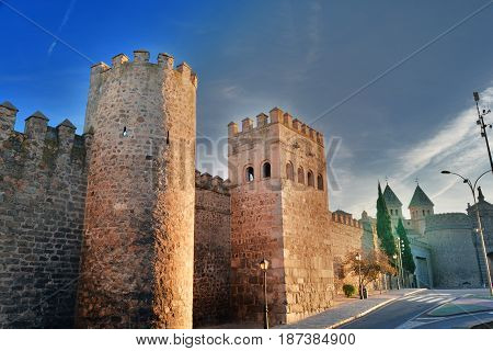 walls and butts of medieval Toledo which is fully surrounded by Arab and Christian walls initially built by Romans