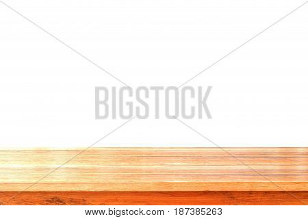 Wooden table top isolated on white background