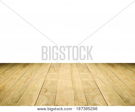 Brown wooden tabletop isolated on white background use for product display