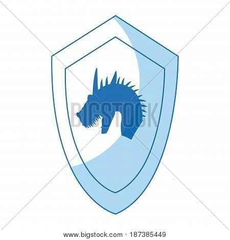 cartoon shield dragon ancient war symbol vector illustration