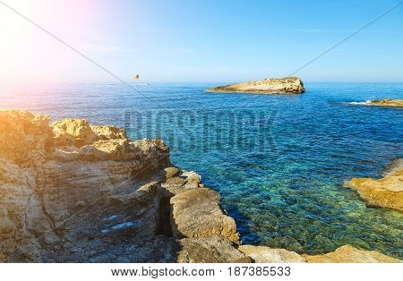 Wonderful sea lagoon with clear turquoise water on bright sunny day looks like a paradise.