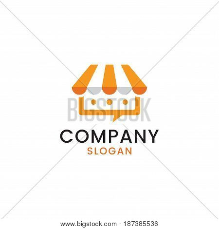 Simple logo design that combines a shop with a communication speech bubble to create an unique pictorial mark.
