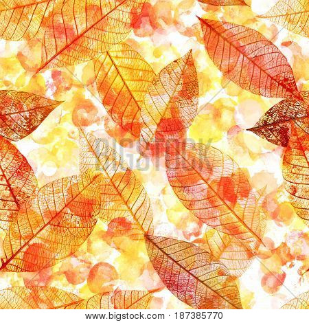 A seamless background pattern of golden toned skeleton leaves on a dotted watercolor background, autumnal repeat print