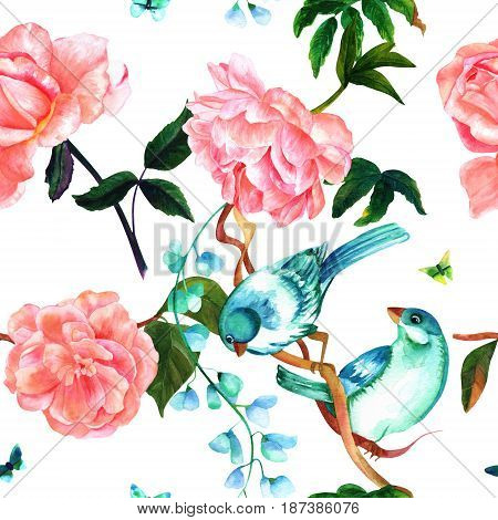 Seamless pattern with watercolor drawings of vibrant teal blue birds, blooming pink roses, camellias, and peonies, and butterflies, hand painted on white background in style of vintage botanical art