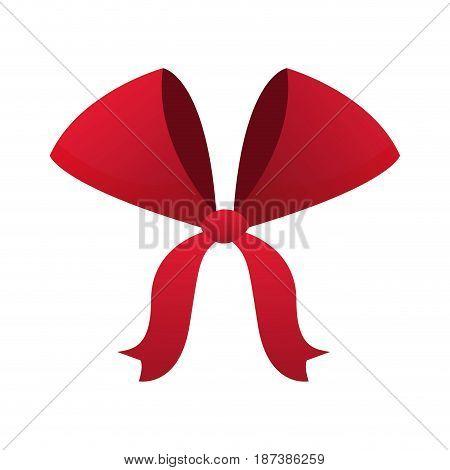red bow ribbon decoration xmas celebration vector illustration