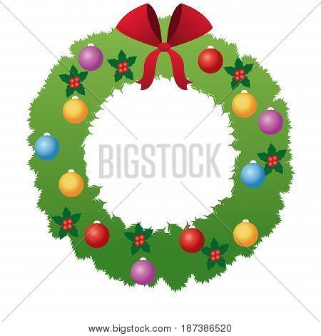 christmas wreath flower bow ball decoration vector illustration