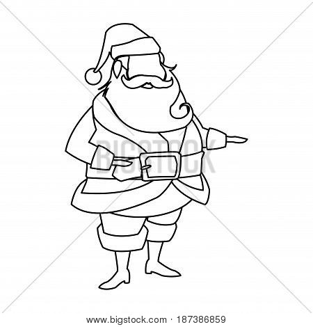character santa claus christmas outline vector illustration