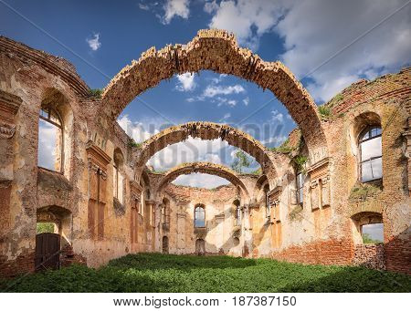 Ruins of church of Holy Spirit in village Kupinovo Serbia was built in 1803.