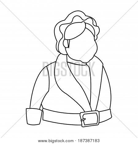 cartoon mrs claus. merry christmas and new year symbol. fun character outline vector illustration