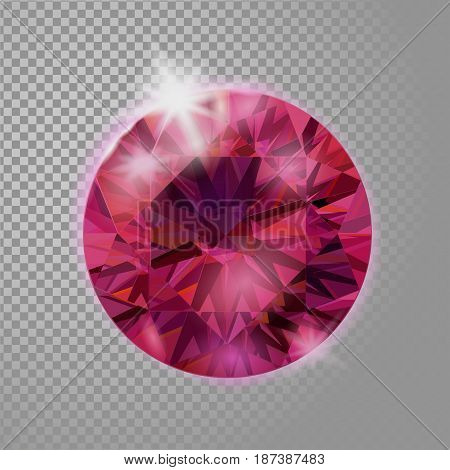 Crystal Red Pink Ruby Gem Jewelry Precious Stone. Realistic 3D Detailed Vector Illustration On Trans