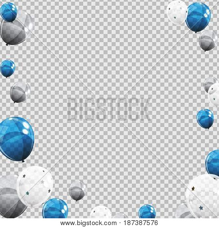 Group of Colour Glossy Helium Balloons Isolated on Transperent  Background. Set of Silver, Blue, White with Confetti Balloons for Birthday, Anniversary, Celebration  Party Decorations. Vector Illustration EPS10