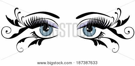 vector illustration of eyes with long lashes and swirls