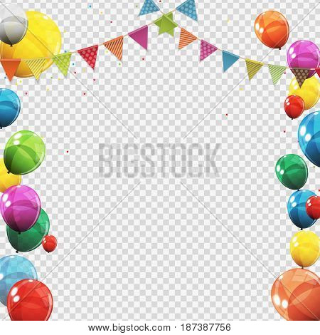 Group of Colour Glossy Helium Balloons Isolated on Transperent  Background. Set of  Balloons and Flags for Birthday, Anniversary, Celebration  Party Decorations. Vector Illustration EPS10