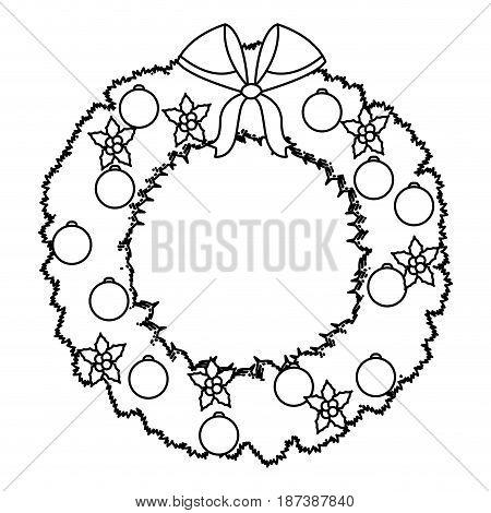 christmas wreath flower bow ball decoration outline vector illustration