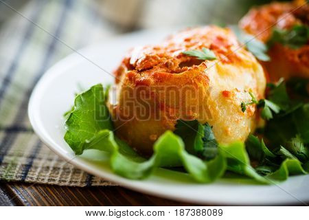 Traditional stewed manti in tomato sauce with greens