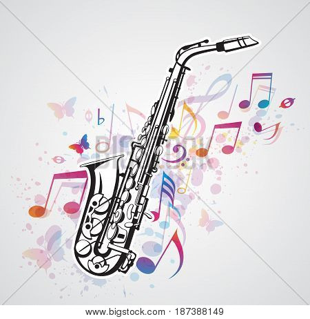 Abstract vector background with music notes and saxophone