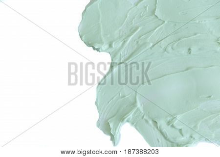 Natural Clay Mask For Face And Body. Green Cosmetic Clay Texture Close Up. A Solution Of Cosmetic Cl
