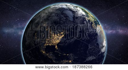 Space scene with distant galaxy and stars in the sky. Night lights on North America. Elements of this image furnished by NASA.