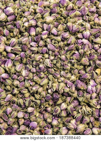 Background of dry herbal tea consisting of buds of roses Turkey