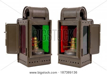 Old vintage military lantern isolated on the white background