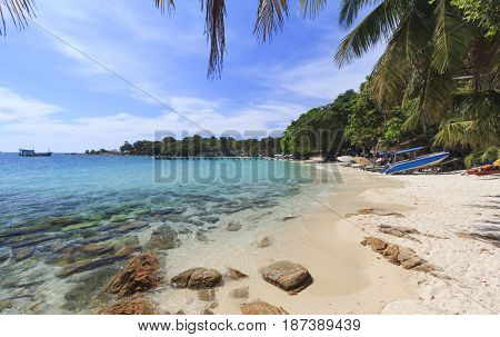 Summer tropical sea beach wave and blue sky at Koh Samed Island famous tourist attraction in Rayong province Thailand.