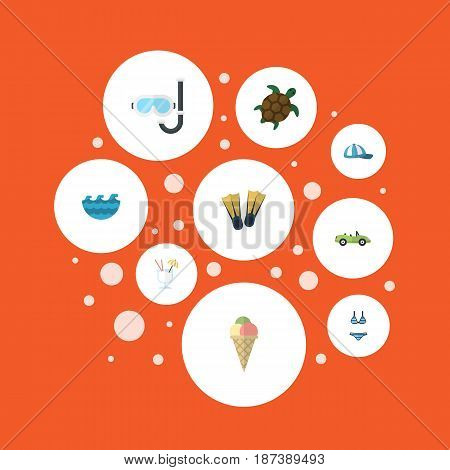 Flat Sorbet, Beachwear, Hat And Other Vector Elements. Set Of Summer Flat Symbols Also Includes Beach, Beachwear, Cocktail Objects.