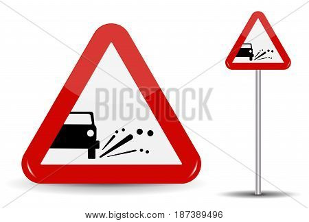 Sign Warning Emission of gravel, stones. In Red Triangle is a schematic machine, from which objects fly. Vector Illustration. EPS10