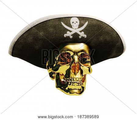 3d render: Pirate Gold Skull and Black Cocked Pirate Triangle Hat with Skull and Crossed Bones on a Blank Background