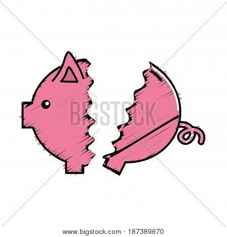 nice pig to save coin currency broken, vector illustration