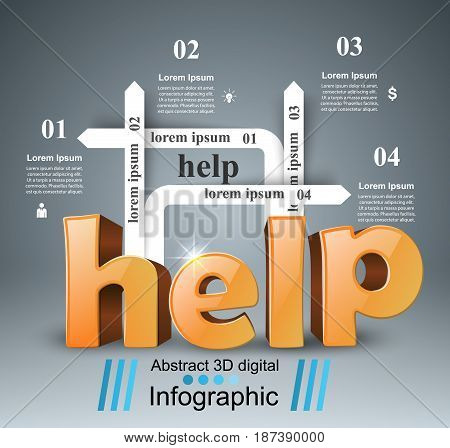 Business help Infographics origami style Vector illustration.