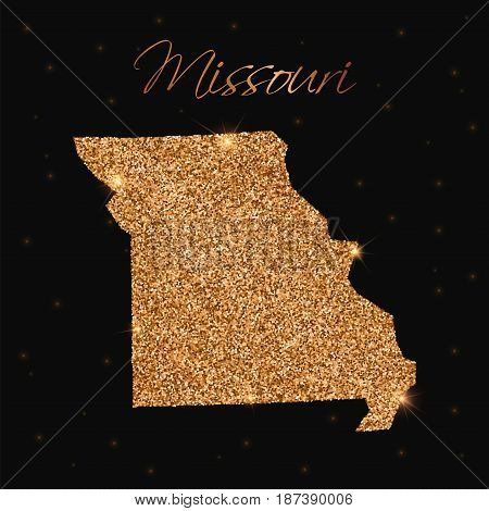 Missouri State Map Filled With Golden Glitter. Luxurious Design Element, Vector Illustration.