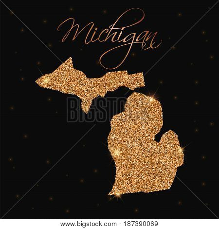 Michigan State Map Filled With Golden Glitter. Luxurious Design Element, Vector Illustration.