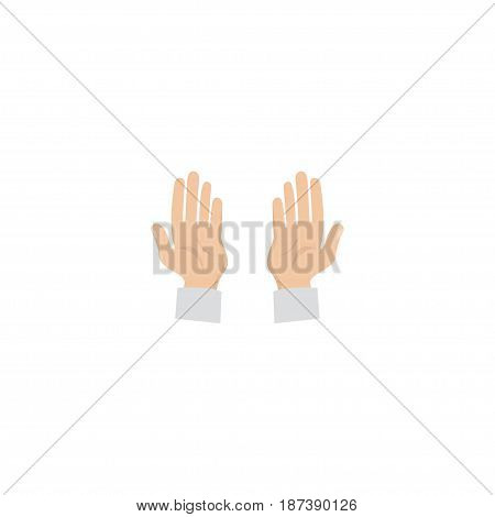 Flat Prayer Hands Element. Vector Illustration Of Flat Palm Isolated On Clean Background. Can Be Used As Prayer, Hand And Palm Symbols.