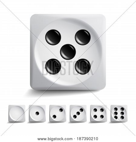 Playing Dice Vector Set. 3d Realistic Cubes With Dot Numbers. Good For Playing Board Casino Game. Isolated