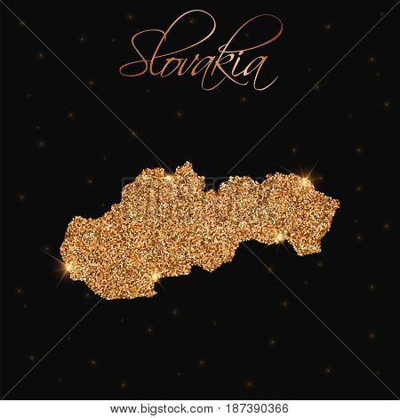 Slovakia Map Filled With Golden Glitter. Luxurious Design Element, Vector Illustration.