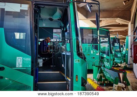 Tel Aviv - 20.04.2017: Egged Buses Park At The Central Bus Station Of Tel Aviv