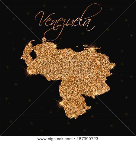 Venezuela Map Filled With Golden Glitter. Luxurious Design Element, Vector Illustration.