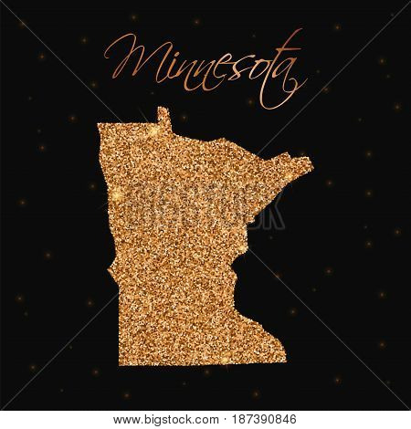 Minnesota State Map Filled With Golden Glitter. Luxurious Design Element, Vector Illustration.