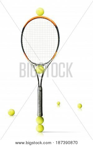Composition tennis balls and racket isolated the white background