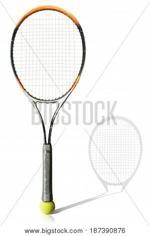 Tennis ball and racket the white background