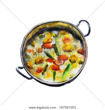 The national Indian dish vegetable korma isolated on white background watercolor illustration in hand-drawn style.
