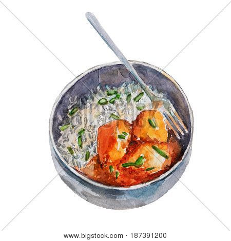 The national Indian dish rice with potato and curry isolated on white background watercolor illustration in hand-drawn style.