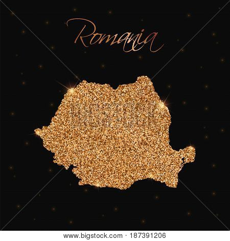 Romania Map Filled With Golden Glitter. Luxurious Design Element, Vector Illustration.