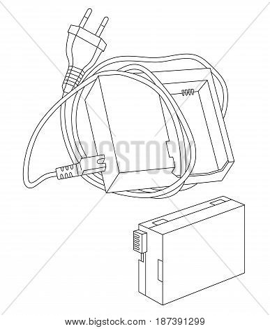 Vector illustration of recharger and battery for camera isolated on a white background. Can be used for graphic design, textile design or web design.