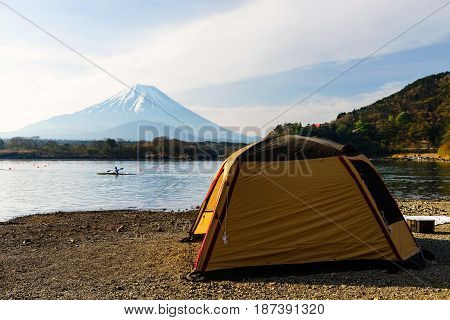 Camping and recreation activity at Shoji lake with Mt. Fuji view Japan