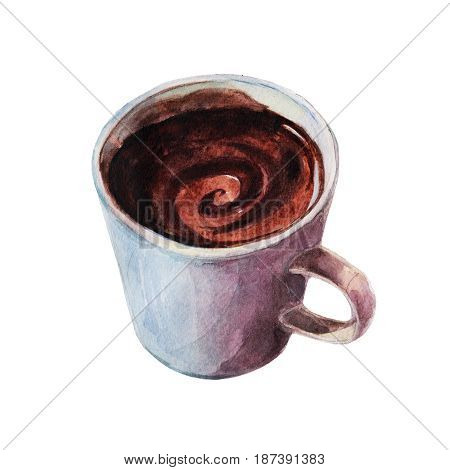 The mug of hot coffee with patches of light. Isolated object on white background watercolor illustration in hand-drawn style.